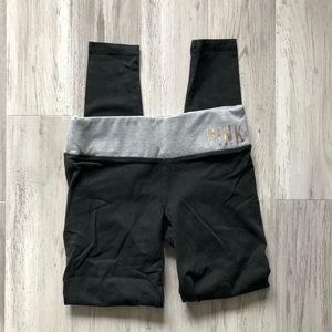VS Pink Yoga Leggings Black Gray XS